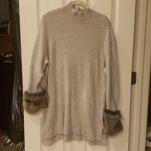 Cream/Gray Over the Hip Sweater